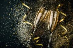 Partido da celebração do ano novo com conceito do champanhe fotografia de stock royalty free