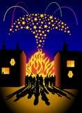 Partido da fogueira e dos fogos-de-artifício Imagens de Stock Royalty Free