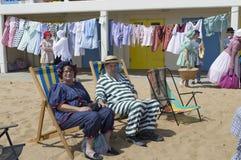 Partido da praia do festival de Broadstairs Dickens Fotos de Stock
