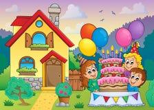 Partido das crianças perto da casa 1 Imagens de Stock Royalty Free