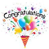 Partido das felicitações no fundo branco Felicitações Imagem de Stock