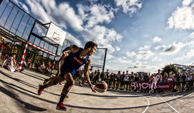partido de baloncesto 3x3 Fotos de archivo