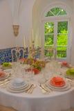 Partido de cena, decoración de las tablas de banquete, evento, casandose Imagenes de archivo
