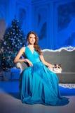 Partido de Christmans, mujer de las vacaciones de invierno con el gato Muchacha del Año Nuevo Fotografía de archivo libre de regalías