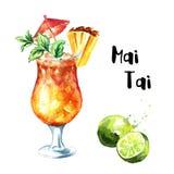 Partido de coctel Mai Tai Cocktail con la piña, la menta, la cal y el ron Ejemplo exhausto de la mano de la acuarela aislado en b libre illustration