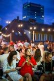 Partido de Corona Sunsets Session em Zagreb, Croácia imagens de stock royalty free