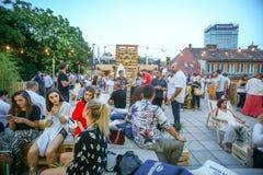 Partido de Corona Sunsets Session em Zagreb, Croácia Fotografia de Stock Royalty Free
