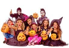 Partido de Dia das Bruxas com criança do grupo Imagens de Stock