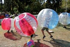 Partido de fútbol de la burbuja Foto de archivo libre de regalías