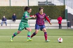 Partido de fútbol de las mujeres - FC Barcelona contra Levante Fotos de archivo libres de regalías