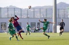 Partido de fútbol de las mujeres - FC Barcelona contra Levante Imagenes de archivo