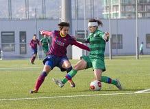 Partido de fútbol de las mujeres - FC Barcelona contra Levante Imagen de archivo libre de regalías