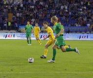 Partido de fútbol de las personas nacionales de Ucrania - de Lituania Fotos de archivo