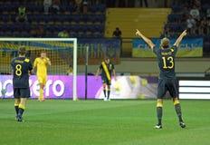 Partido de fútbol de las personas nacionales de Ucrania - de Suecia Foto de archivo