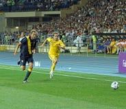 Partido de fútbol de las personas nacionales de Ucrania - de Suecia Fotos de archivo libres de regalías