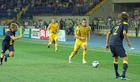 Partido de fútbol de las personas nacionales de Ucrania - de Suecia Fotografía de archivo