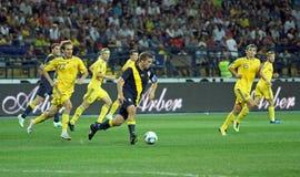 Partido de fútbol de las personas nacionales de Ucrania - de Suecia Fotos de archivo