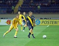 Partido de fútbol de las personas nacionales de Ucrania - de Suecia Imagen de archivo libre de regalías