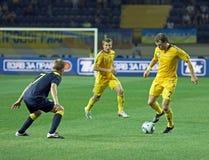 Partido de fútbol de las personas nacionales de Ucrania - de Suecia Fotografía de archivo libre de regalías