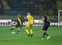 Partido de fútbol de las personas nacionales de Ucrania - de Suecia Imagen de archivo