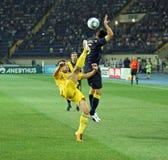 Partido de fútbol de las personas nacionales de Ucrania - de Suecia Imagenes de archivo