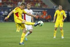 Partido de fútbol de Rumania - de Hungría, Dorin Goian Imágenes de archivo libres de regalías