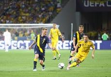 Partido de fútbol 2012 del EURO de la UEFA Ucrania contra Suecia Imagenes de archivo