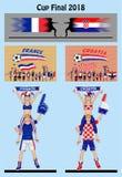Partido de fútbol 2018 del final de la Copa entre el fútbol de Francia y de Croacia Imagen de archivo libre de regalías