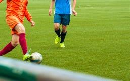 Partido de fútbol en el estadio Foto de archivo libre de regalías