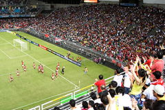 Partido de fútbol en el estadio de Hong-Kong Imágenes de archivo libres de regalías