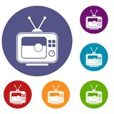 Partido de fútbol en los iconos de la TV fijados stock de ilustración