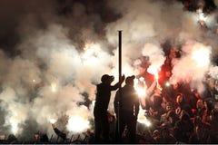 Partido de fútbol entre Paok y Panathnaikos Imagen de archivo libre de regalías