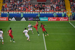 Partido de fútbol entre Portugal y México en Moscú el 2 de junio de 2017 Imágenes de archivo libres de regalías