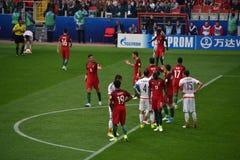 Partido de fútbol entre Portugal y México en Moscú el 2 de junio de 2017 Fotografía de archivo libre de regalías