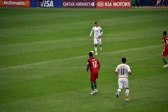 Partido de fútbol entre Portugal y México en Moscú el 2 de junio de 2017 Fotos de archivo
