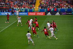 Partido de fútbol entre Portugal y México en Moscú el 2 de junio de 2017 Foto de archivo libre de regalías