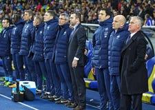 Partido de fútbol Ucrania contra Francia Imágenes de archivo libres de regalías