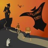 Partido de Halloween - color ilustración del vector