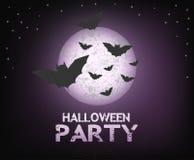 Partido de Halloween con la luna brillante Foto de archivo libre de regalías