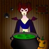 Partido de Halloween de la bruja, que elabora cerveza una poción en un pote Imagen de archivo