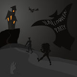 Partido de Halloween - silueta gris de los tonos libre illustration