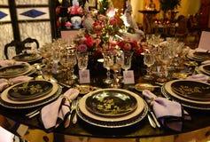 Partido de jantar com estilo asiático, decoração exótica da tabela Fotos de Stock Royalty Free