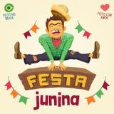 Partido de junho do brasileiro de Festa Junina - camponês feliz que salta sobre Foto de Stock