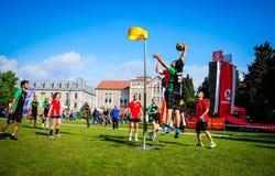 Partido de Korfball en festival de los deportes Foto de archivo libre de regalías