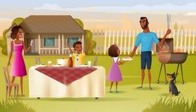 Partido de la barbacoa de la familia en vector de la historieta de la yarda de la casa ilustración del vector