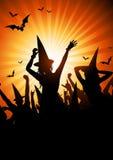 Partido de la bruja de Víspera de Todos los Santos Imagen de archivo