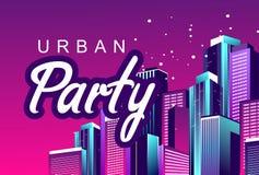 Partido de la ciudad de la noche ilustración del vector