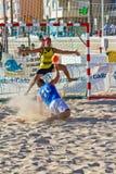 Partido de la diecinueveavo liga del balonmano de la playa, Cádiz Foto de archivo libre de regalías