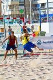 Partido de la diecinueveavo liga del balonmano de la playa, Cádiz Fotos de archivo libres de regalías