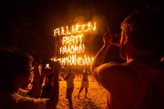 Partido de la Luna Llena de la playa de Phangan Imagenes de archivo